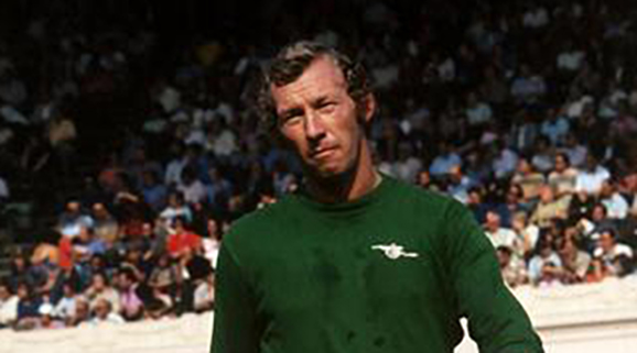 Arsenal goalkeeper Bob Wilson in action during the match against  Leicester City at Highbury, September 1973.