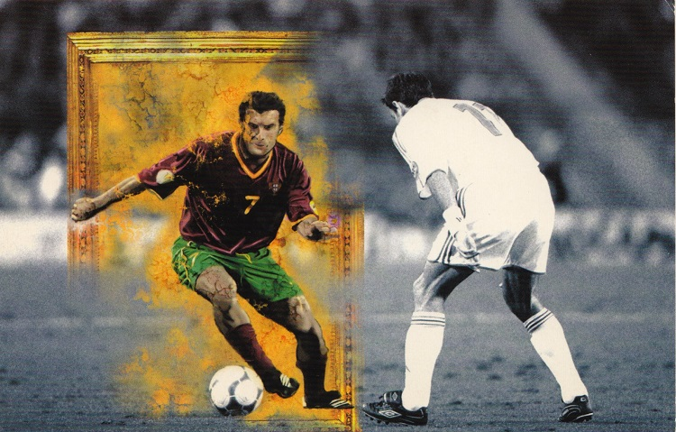 Portugal's superstar, Figo, features in Martin Pick's original BBC interstitial for the European Football Championships in 2004. It became to signature image for the exhibition.