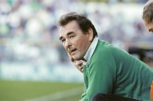 Brian Clough manager of Nottingham Forest Football Club watching his side's match against Millwall from the dug out. 25th October 1988. Pic via Mirrorpix