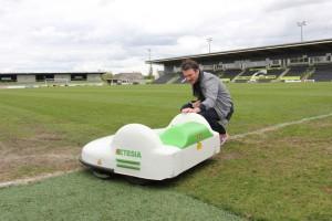 Artist Matthew Plummer-Fernandez meets Forest Green Rovers' robot mower.