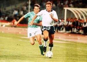 Paul Gascoigne battles with Lothar Matthaus in the game between England and Germany. Pic via Mirrorpix.
