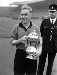 1949 FA Cup Final at Wembley Stadium. Wolverhampton Wanderers 3 v Leicester City 1. Wolves captain Billy Wright with the trophy after the match.     30th April 1949. Pic via Mirrorpix.