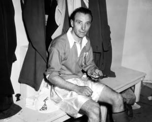 1953 FA Cup Final Stanley Matthews of Blackpool  with his winners medal, after victory over Bolton in the FA Cup Final. May 1953. Pic courtesy of Mirrorpix.