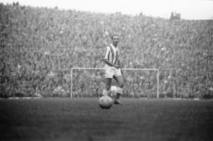 Stoke v Huddersfield league match at the Victoria ground, Saturday 28th October 1961. Stanley Matthews first match on his return from Blackpool. Final score: Stoke 3-0 Huddersfield. Pic courtesy of Mirrorpix