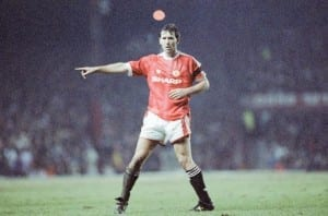 Man United 2-1 Middlesbrough, League Cup match at Old Trafford, Wednesday 11th March 1992. Bryan Robson. Pic courtesy of Mirrorpix.