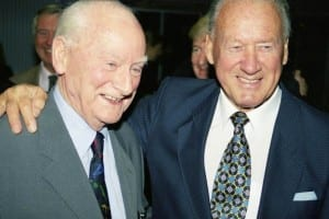 Sir Tom Finney and Nat Lofthouse together at the National Football Museum Hall Of Fame awards in 2002. Both men were among the inaugural inductees to the Hall Of Fame.