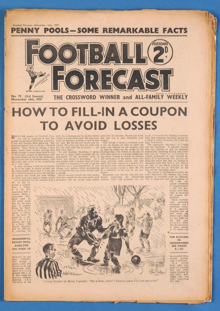 Football Forecast Newspaper, Featuring Pools Forecasts and