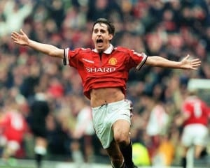 FA Cup 4th Round match at Old Trafford. Manchester United 2 v Liverpool 1. Manchester united's Gary Neville celebrates victory at the end of the match. 24th January 1999. Image courtesy of Mirrorpix.