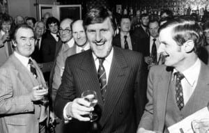 Jimmy Hill , chairman of Coventry City Football Club shares a joke and a drink with some of the shareholders after the Club's shareholders AGM meeting. 7th December 1981. Pic courtesy of Mirrorpix.