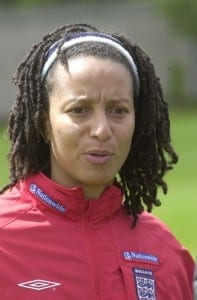 England Womens Football Squad.  Training Session in Beckenham, South London. Women's coach Hope Powell. 15th May 2002.