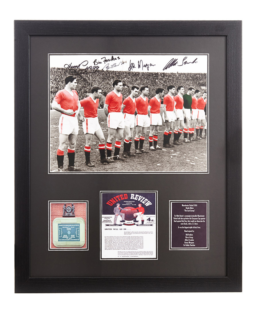 e4e9a54b389 Manchester United Busby Babes Signed Photo - Framed