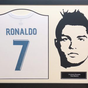 Cristiano Ronaldo Real Madrid Silhouette Signed Shirt – Framed