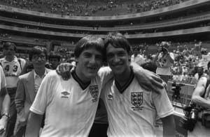 World Cup 1986 England 3 Paraguay 0 Last 16 A toothless Peter Beardsley and Gary Lineker after the final whistle, in a game which saw them each grab a goal. Pic courtesy of Mirrorpix.