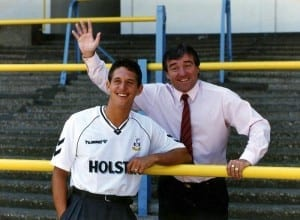 Tottenham Hotspur footballer Gary Lineker with his manager Terry Venables on the terraces at White Hart Lane after signing from Barcelona,  June 1989. Pic courtesy of Mirrorpix.