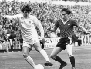Leeds FC V Manchester United FC. Eddie Gray of Leeds beating a Manchester United defender. Score Leeds 1 - 2 Manchester United, League Division One, Elland Road.11th October 1975. Pic courtesy of Mirrorpix.