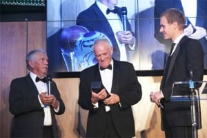 Eddie Gray receives his Hall Of Fame award from Johnny Giles and host Dan Walker. National Football Museum, September 2013 Picture Credit © Jason Lock Photography