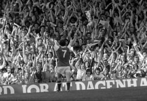 Arsenal v Leeds Liam Brady celebrates his goal with the crowd 19/08/1978. Pic courtesy of Mirrorpix.