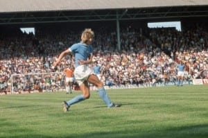 Blackpool 1 v Manchester City 1, Texaco Cup  at Bloomfield Road. Manchester City's Colin Bell has a shot at goal. 3rd August 1974. Pic courtesy of Mirrorpix.