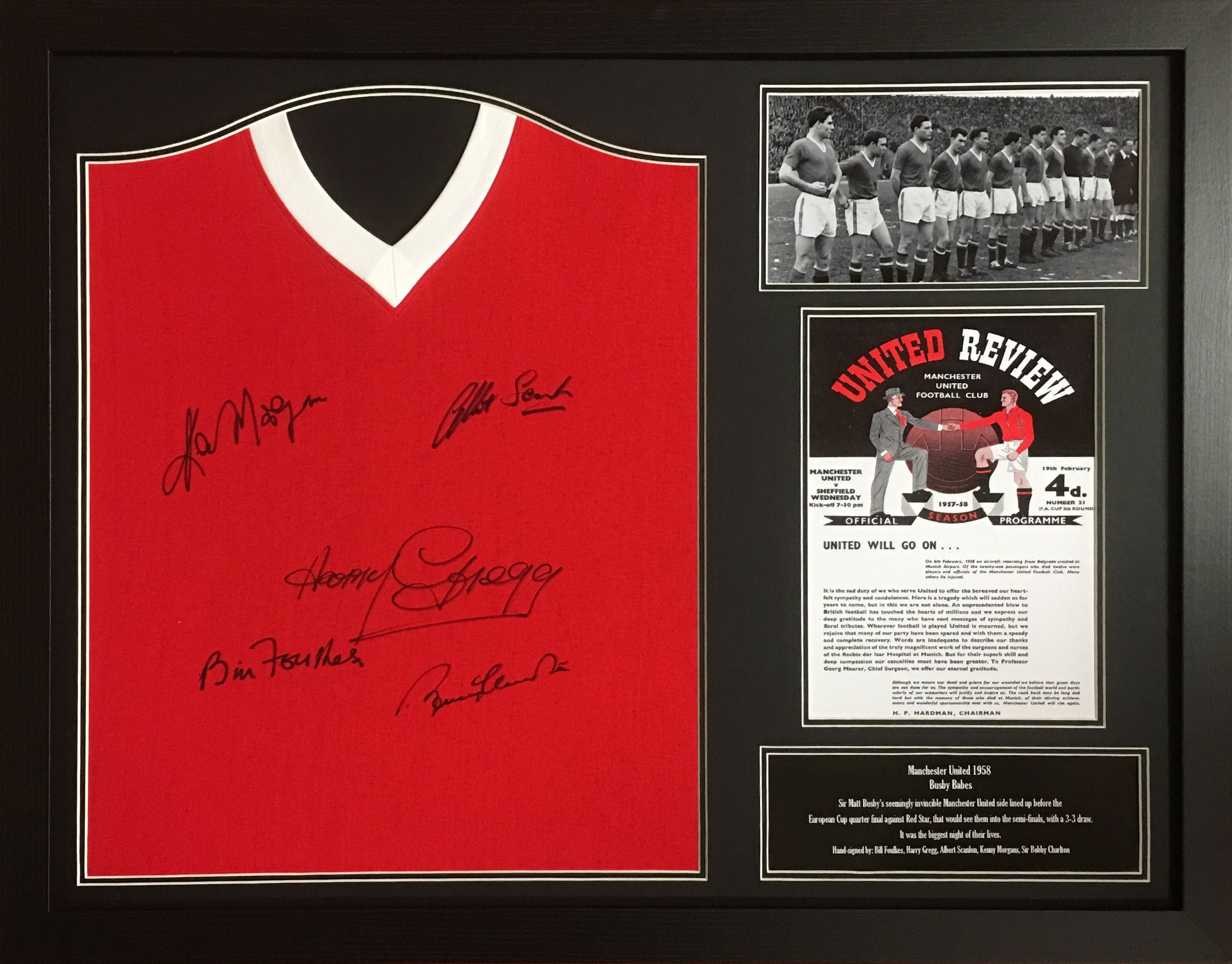 61ac7d624eb Manchester United Signed  Busby Babes  Shirt - Framed - NFM
