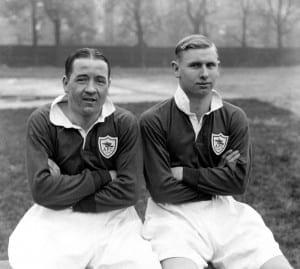 Alex James & Cliff Bastin (r), Arsenal Footballers 1930. Pic courtesy of Mirrorpix.