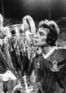 Nottingham Forest striker Trevor Francis kissing the European cup after his winning goal against the Swedish club Malmo won the trophy for Forest for the first time June 1979. Pic by Mirrorpix