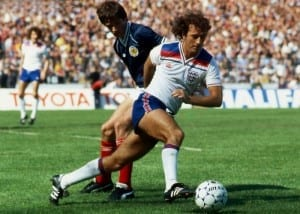 Trevor Francis goes past Alan Hansen May 1982. Pic by Mirrorpix.