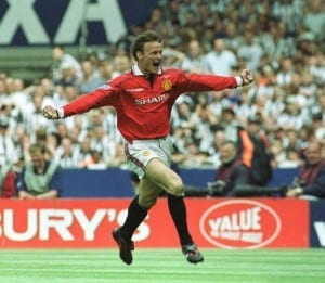 FA Cup Final at Wembley Stadium. Manchester United 2 v Newcastle United 0. Teddy Sheringham  celebrates after scoring the opening goal for Manchester United. 22nd May 1999. Pic courtesy of Mirrorpix.