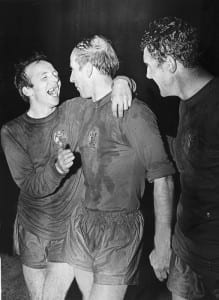 1968 European Cup Final at Wembley Stadium Manchester United 4 v Benfica 1 after extra time Manchester United's Nobby Stiles and Bobby Charlton celebrate as they become European Champions for the first time May 1968. Pic via Mirrorpix.