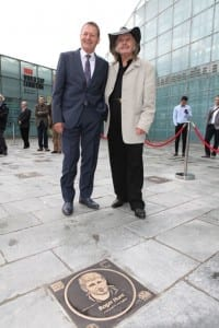 Roger Hunt and artist Paul Trevillion at unveiling of Hunt's Football Walk Of Fame plaque at the National Football Museum. Photo by Jason Lock.