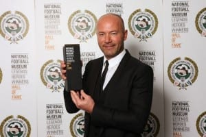 Alan Shearer with his Hall Of Fame trophy, National Football Museum 2014.