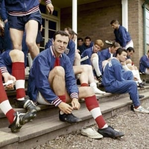 Jimmy Armfield, Blackpool and England footballer, pictured during an England training session, 1966. Pic via Mirrorpix