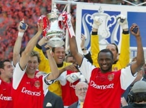 2002 FA Cup Final at the Millennium Stadium, Cardiff. Arsenal 2 v Chelsea  0. Arsenal's Tony Adams (left) and Patrick Vieira celebrate with the trophy. 4th May 2002. Pic via Mirrorpix