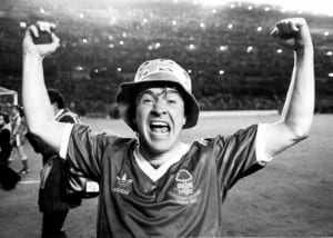 Nottingham Forest goalscorer John Robertson celebrates after his side's victory over SV Hamburg in the European Cup Final at the Bernabeu Stadium in Madrid. 28th May 1980. Pic courtesy of Mirrorpix.