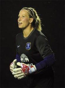 Rachel Brown in goal for Everton Ladies