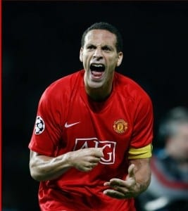 Rio Ferdinand celebrates at the end of the game. Pic courtesy of Mirrorpix.