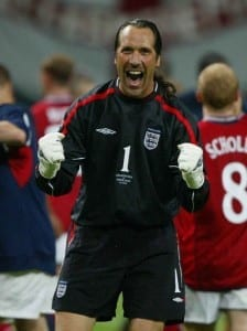 World Cup 2002 Korea Japan June 2002  Argentina 0 England 1 Sapporo Dome, Japan. David Seaman screaming in celebration after England's win, at the final whistle. Pic via Mirrorpix.