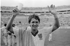 World Cup 1986 England 3 Poland 0 Group F Gary Lineker smiles after scoring a hat-trick, Monterrey, Mexico. Pic via Mirrorpix.