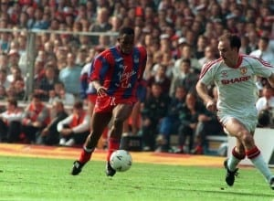 Ian Wright tackles Mike Phelan in FA cup final 1990  Crystal Palace v Manchester United. Pic via Mirrorpix. Picture Shows Ian Wright tackles Mike Phelan in FA cup final 1990