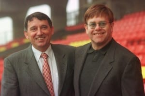 Watford manager Graham Taylor with Hornets chairman Elton John, 1998. Pic by Mirrorpix.