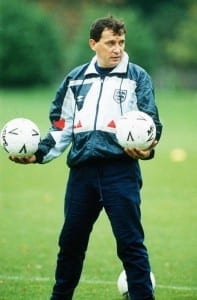 Graham Taylor at an England photocall in 1990. Pic by Mirrorpix.