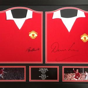 denis law & bobby Charlton double shirt frame