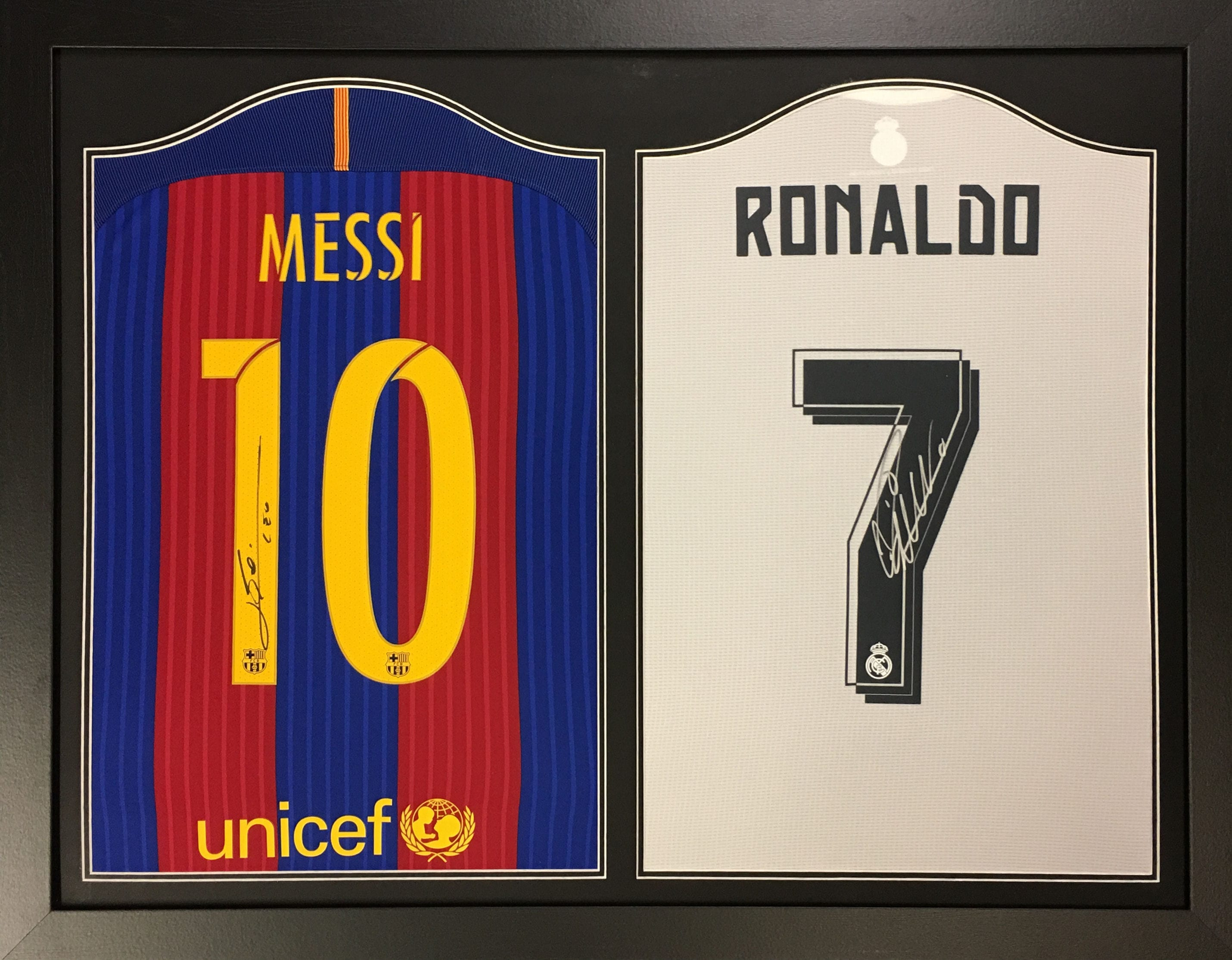 differently 721da 186d0 Messi and Ronaldo Signed Framed Shirts