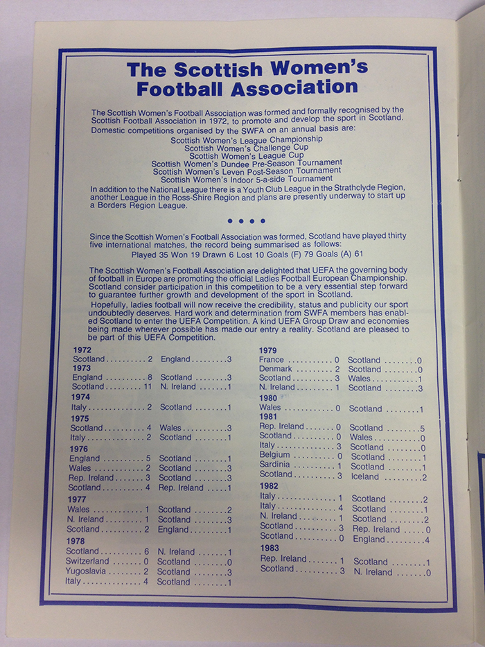 """""""The Scottish Women's Football Association are delighted that UEFA the governing body of football in Europe are promoting the official Ladies Football European Championship.  Scotland consider participation in this competition to be a very essential step forward to guarantee further growth and development of the sport in Scotland."""" Scottish Women's Football Association"""