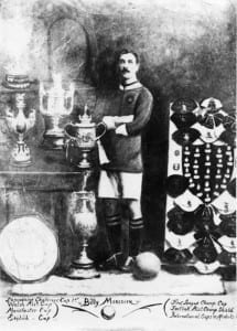 Manchester City and Manchester United's Billy Meredith pictured circa 1908 with an array of his cups, caps and medals. (Picture via Mirrorpix)