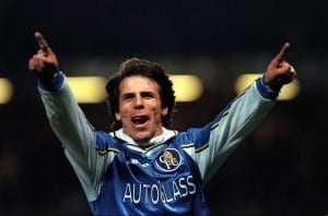 Gianfranco Zola celebrates scoring a stunning chip against Oxford United in their FA Cup Fourth Round Replay in February 1999. Image via Mirrorpix.