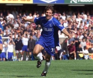 Gianfranco Zola is regarded as one of the best foreign players of the Premier League era, netting 59 league goals and laying on 42 assists during his seven years at Stamford Bridge. Image via Mirrorpix.