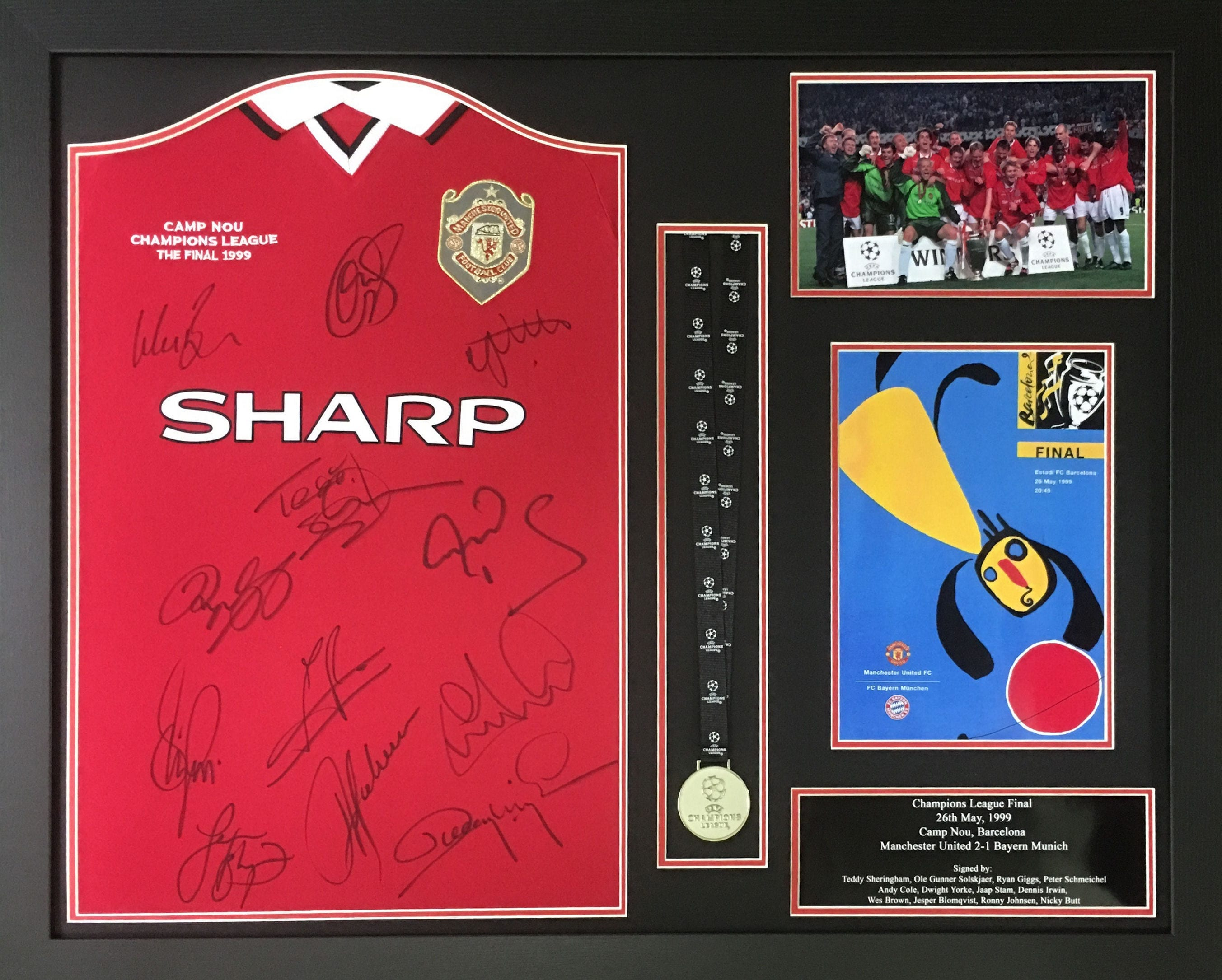 1999 Champions League Final Replica Shirt Signed By 12 Framed