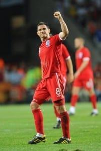 England's Frank Lampard celebrates a goal against Slovenia. (Image via Mirrorpix)