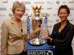 Friends of Fulham and Croydon Ladies midfielder Brenda Sempare (right), alongside fellow inductee Sue Lopez.