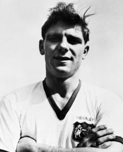 Duncan Edwards of Manchester United just before the Munich plane disaster in 1958.